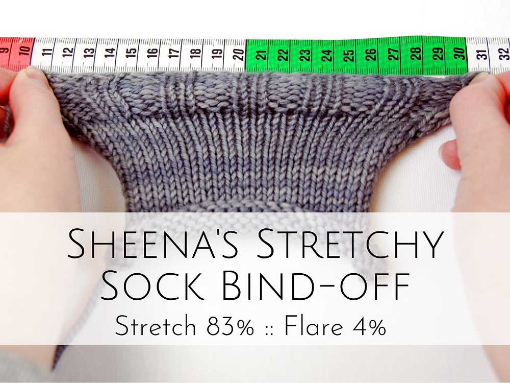 Sheena's Stretchy Sock Bind-off: 83% stretch, 4% flare