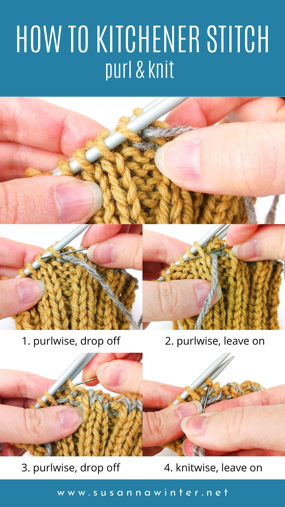How to Kitchener stitch in pattern: purl and knit