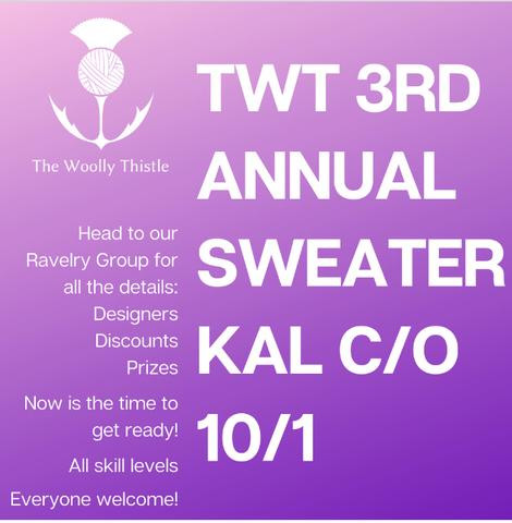 Join The Woolly Thistle Sweater KAL on Ravelry, Facebook, or Instagram.