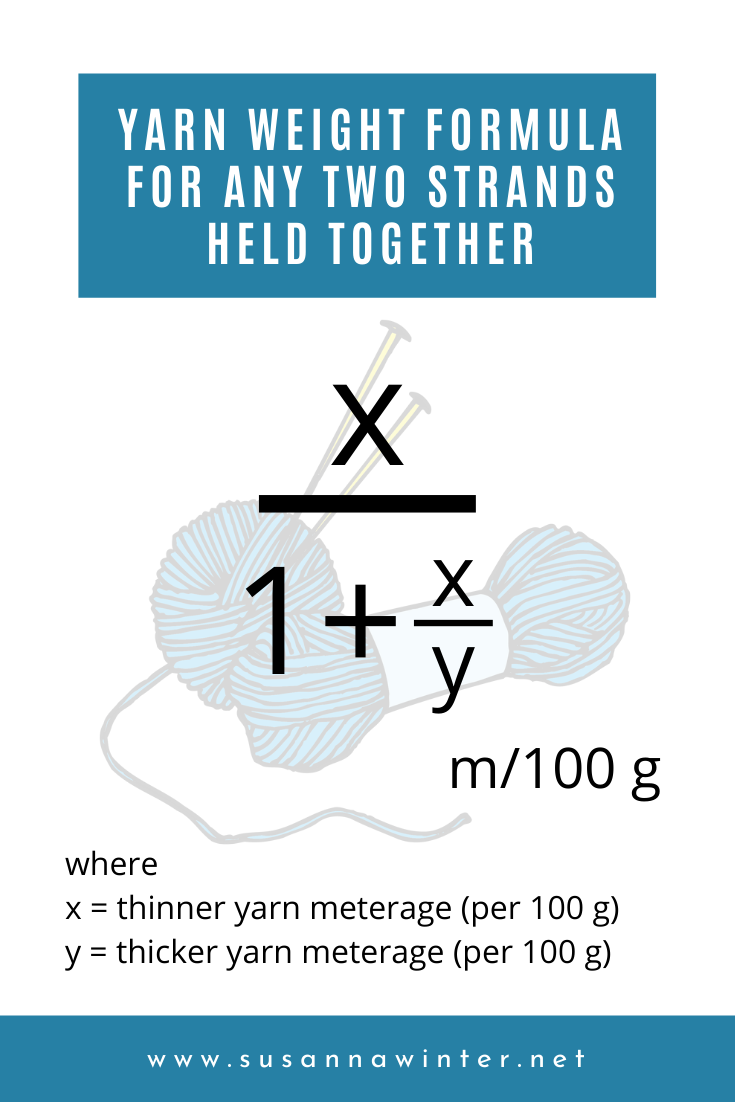 Yarn weight formula for any two strands held together