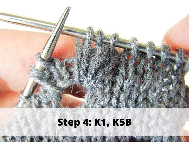 How to Knit Frost Flowers, step 4: K1, K5B