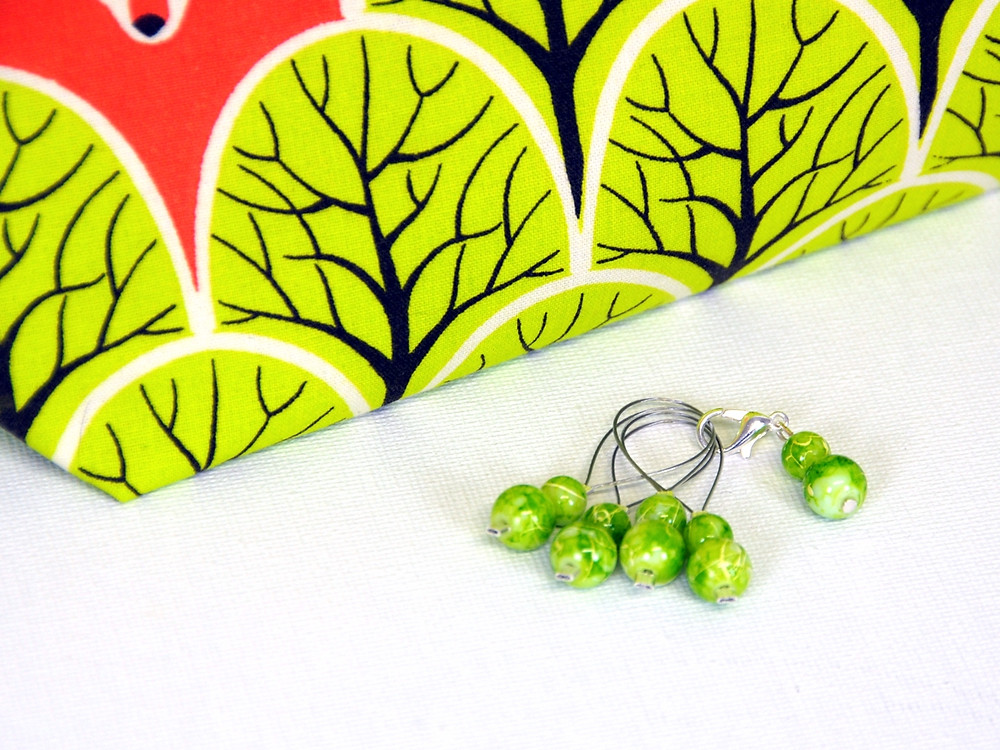 Zipper pouch with woodland animals and lime gree stitch markers