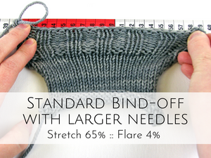 Standard bind-off with larger needles: 65% stretch, 4% flare