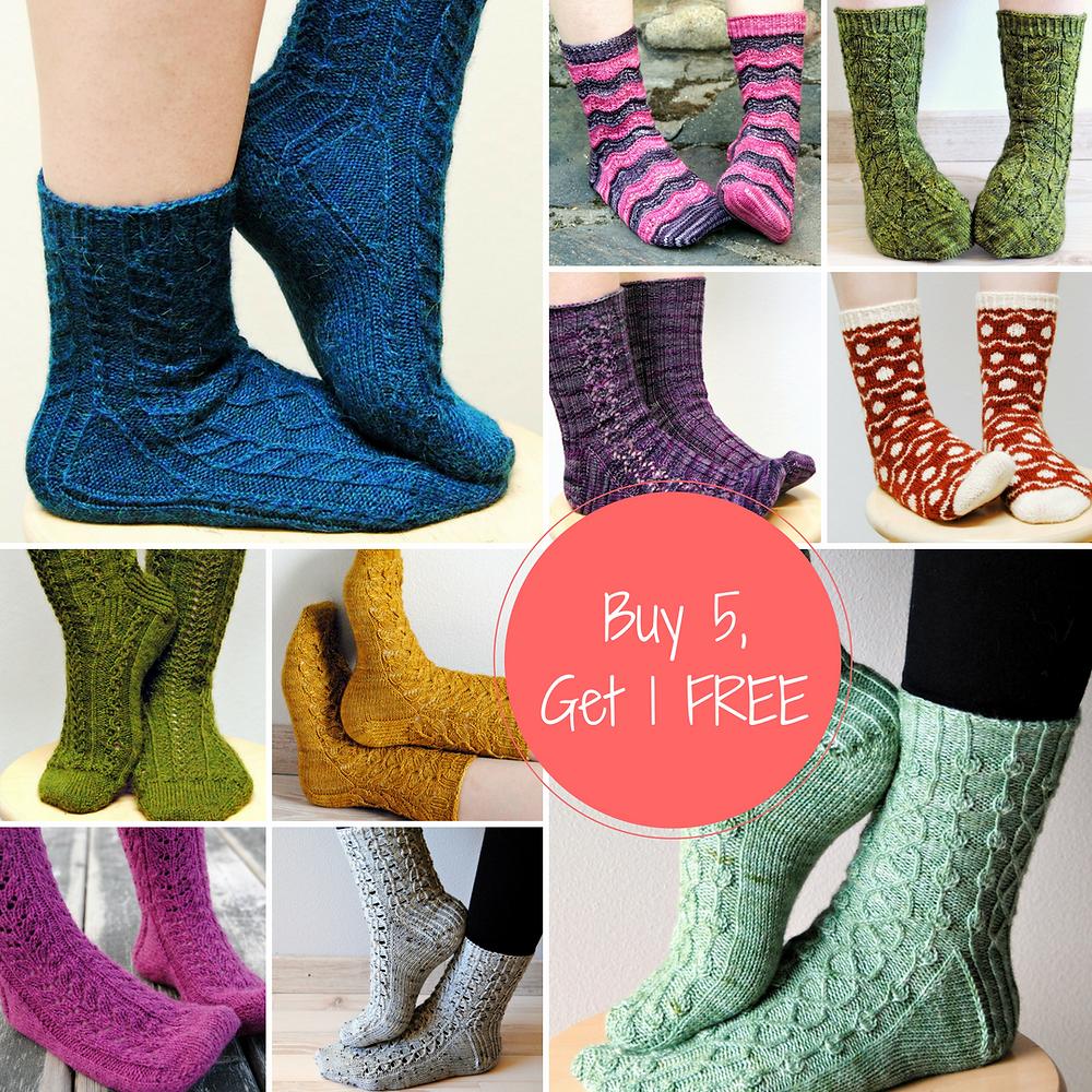 Buy 5, Get 1 sale on all sock patterns!