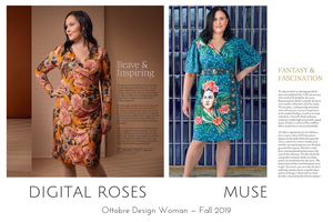 Digital Roses and Muse dresses from the Ottobre Design Woman Fall 2019 issue