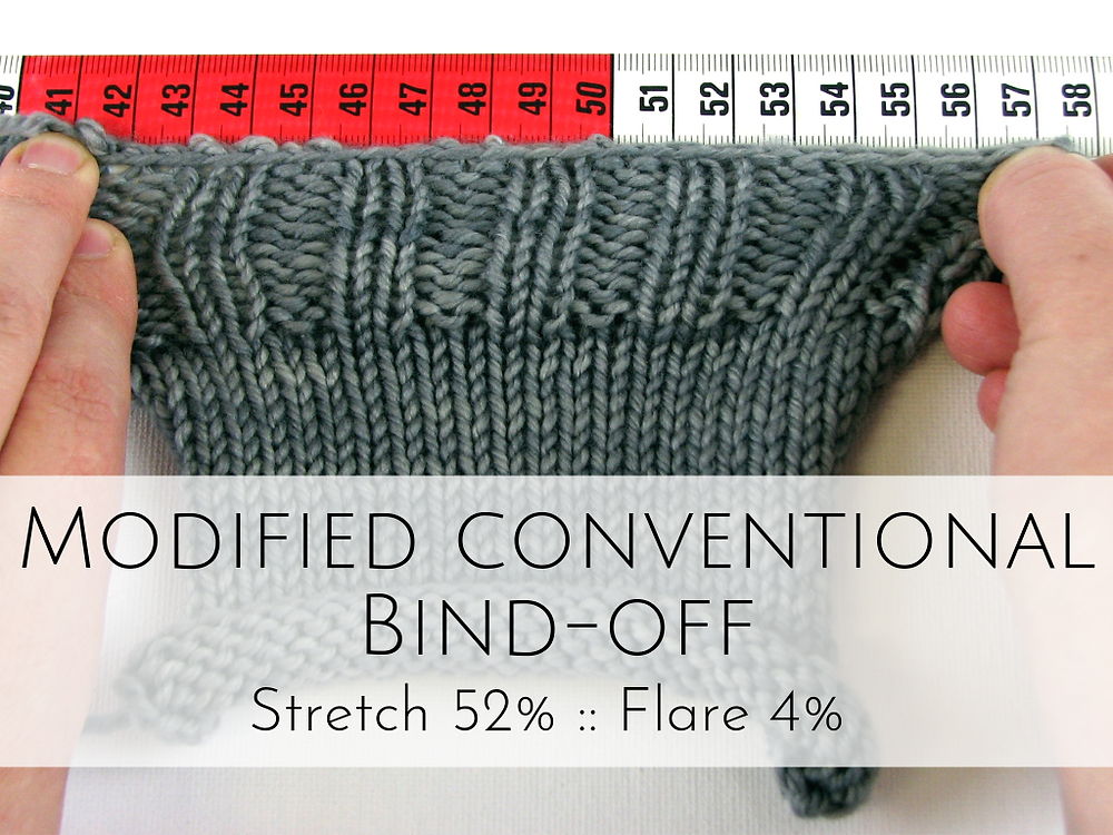 Lucy Neatby's Modified Conventional Bind-off: 52% stretch, 4% flare
