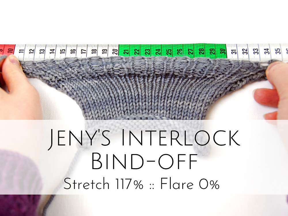 Jeny's Interlock Bind-off: 117% stretch, 0% flare