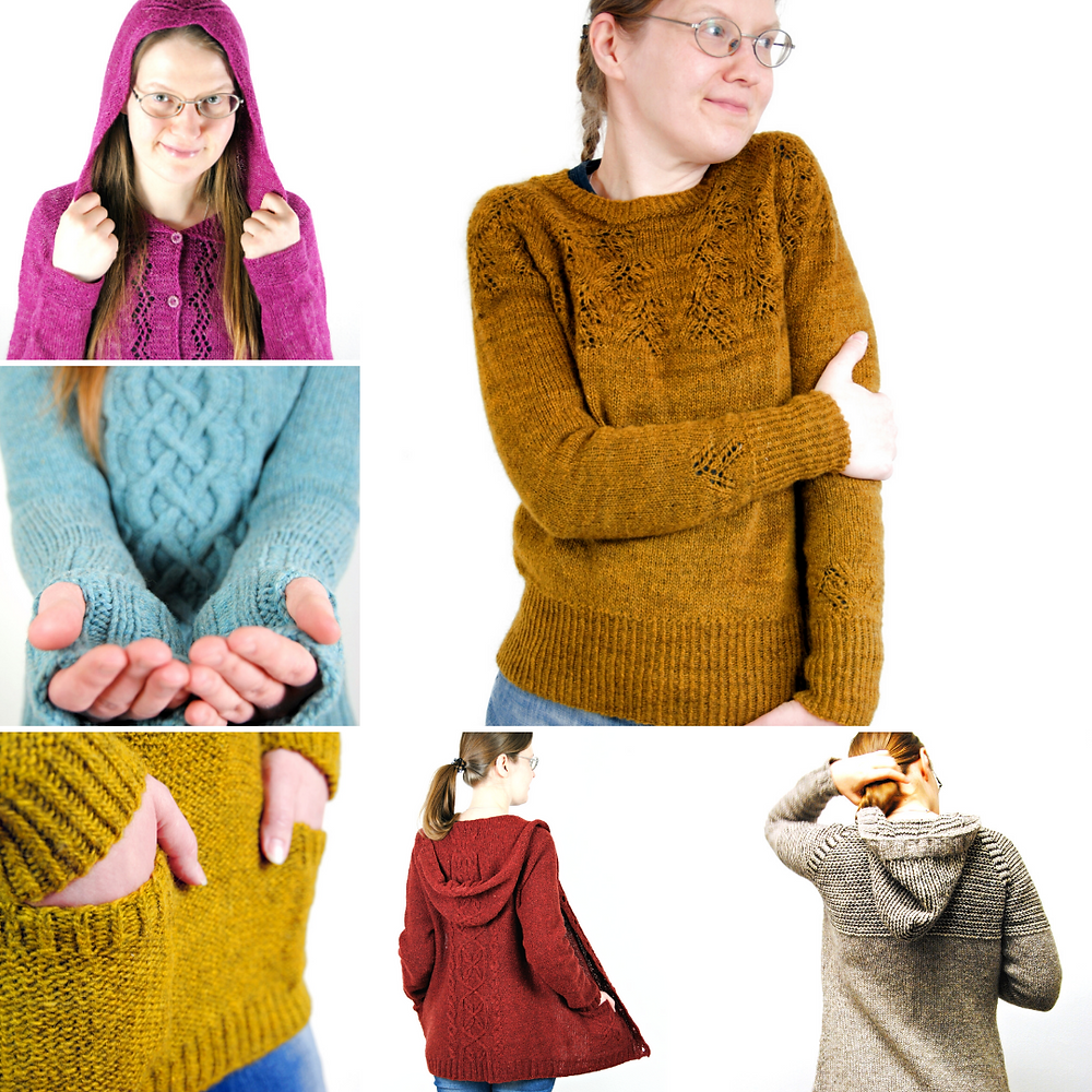 This is just a selection of my sweater patterns available in the KAL.