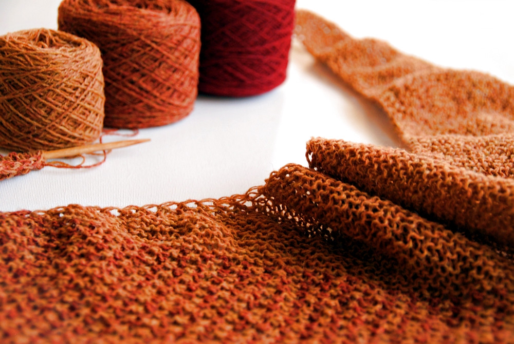 The two-color slip stitch pattern is knit entirely without purl stitches.