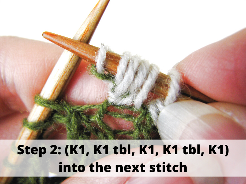 Step 2: (K1, K1 tbl, K1, K1 tbl, K1) into the next stitch