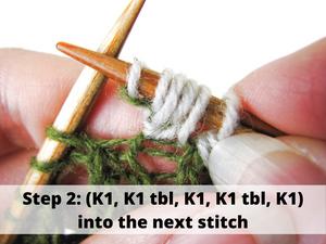 Step 2: (K1, K1 tbl, K1, K1 tbl, K1) into the next stitch