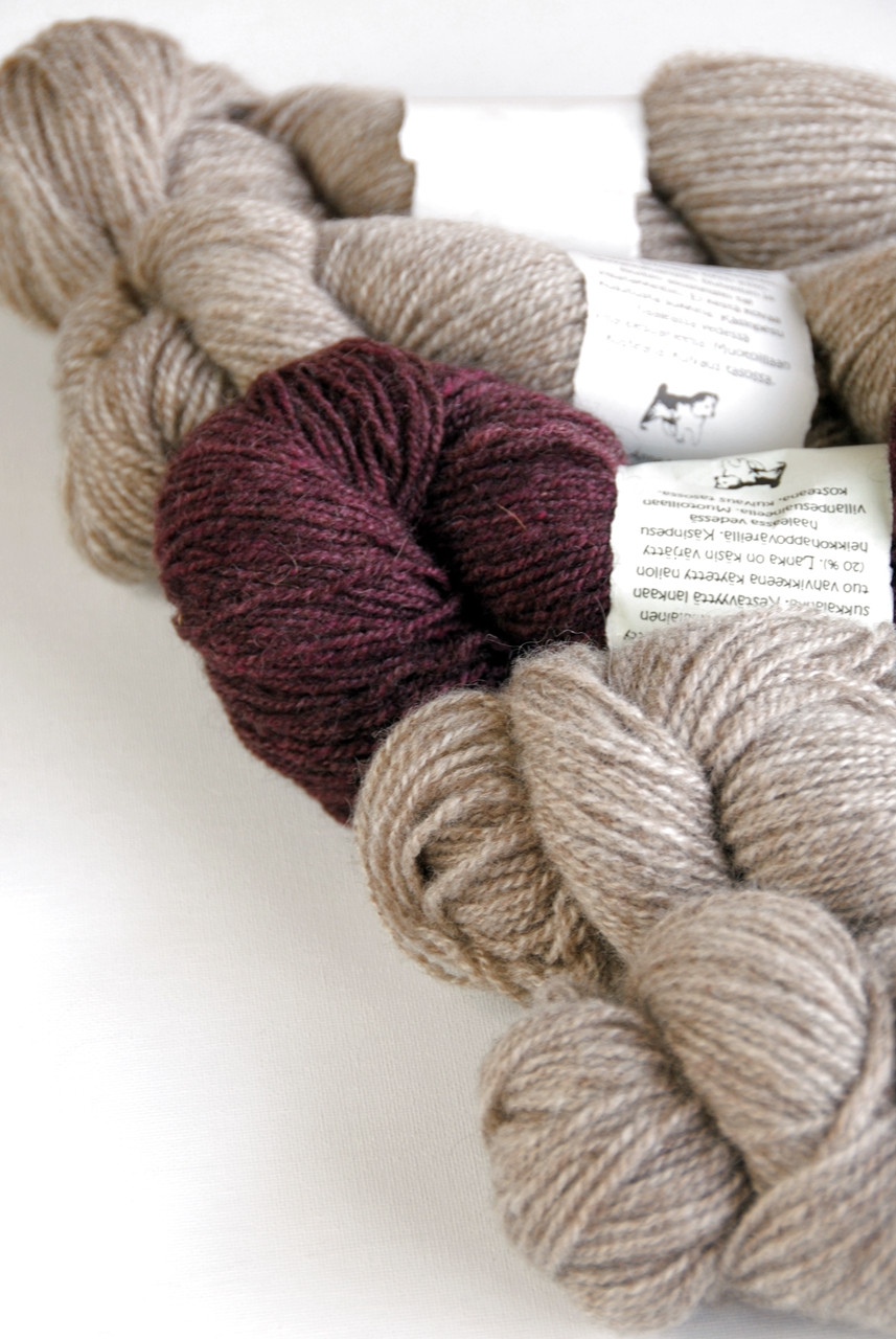 Photo of the two yarns used in the Muscardin sweater pattern