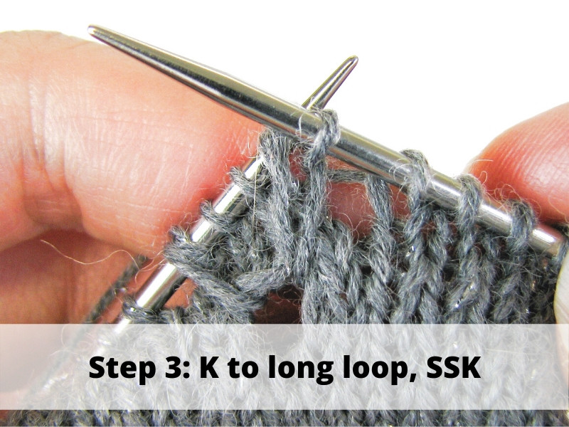 How to Knit Frost Flowers, step 3: K to long loop, SSK
