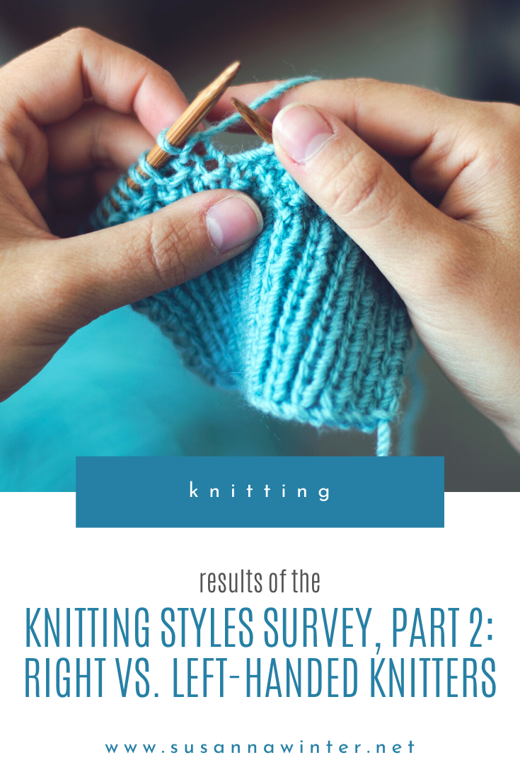 How common are different knitting styles? In the second part of the results to the knitting styles survey, I examine the similarities and differences between right and left handed knitters. Do all knitters knit in the same direction? What knitting styles are most common with left handed knitters? Are Eastern stitch mounts most often used by right or left handed knitters? Find it out in this post. #knitting #knit #knittingtutorial #howtoknit #learntoknit #knittingstyles #continentalknitting