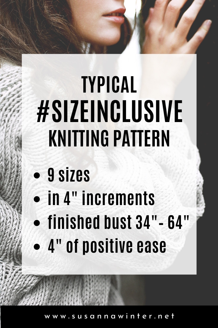 Typical Size-Inclusive Knitting Pattern