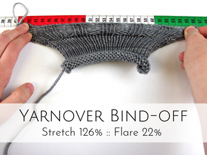 Yarnover Bind-off: 126% stretch, 22% flare