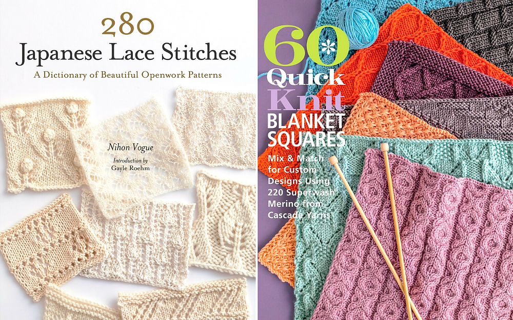 Two book covers for knitting stitch dictionaries.