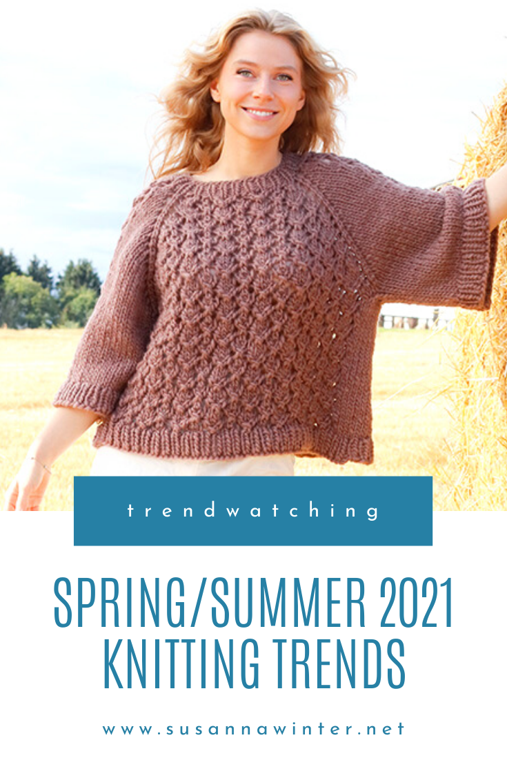 What's trending in knitwear in 2021? In this blog post I take a look into Garnstudio's latest knitting pattern collection to identify the five biggest knitwear trends for the Spring and Summer 2021 season. The hottest things you need in your spring and summer wardrobe are a cropped boxy sweater, lots of lace, fluffy yarns, a sleeveless tank or top, or a sweater with big balloon statement sleeves. #knitting #knit #knittingpatterns #trends #trends2021 #sweatersforwomen #knitwear