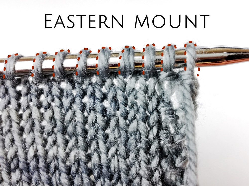 In the Eastern mount stitches are oriented to the right, with left leg in front of needle and right leg behind.