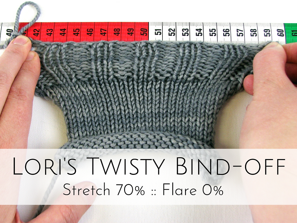 Lori's Twisty Bind-off: 70% stretch, 0% flare
