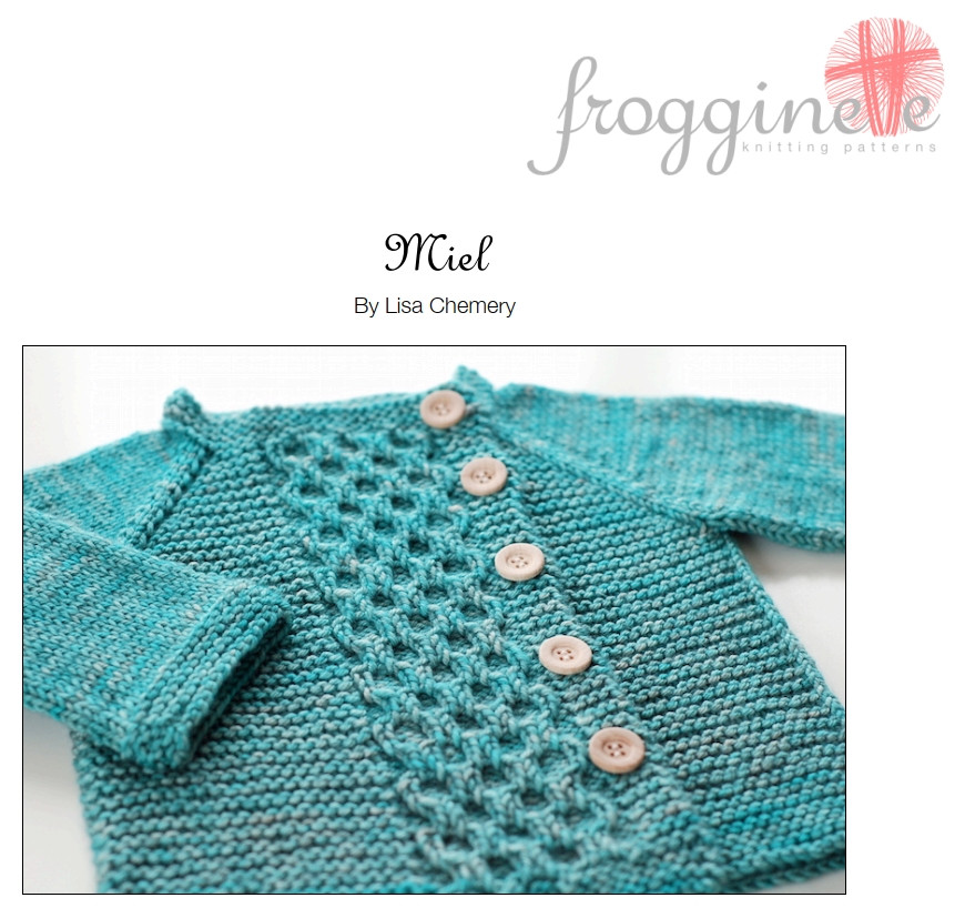 The Miel cardigan, designed by Frogginette