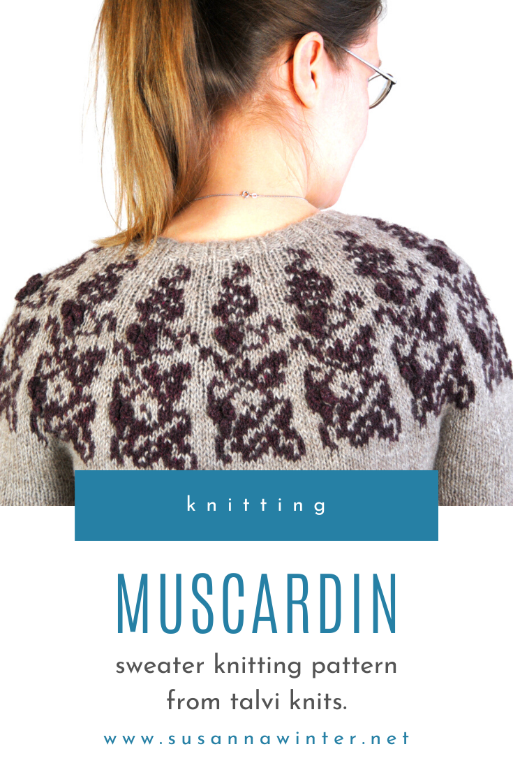 Muscardin is a circular yoke sweater with a colorwork motif of stylized vine and small bobbles. Leafy colorwork details on the cuffs complement the larger design on the round yoke. This DK-weight colorwork sweater is worked from the top down. Muscardin features twisted ribbing, subtle waist shaping, and short rows to lower the back yoke. The size-inclusive pattern comes in 9 sizes from XS to 5X. #knitting #knit #sweaters #knittingpatterns #sweatersforwomen #stranded #colorwork #yoke
