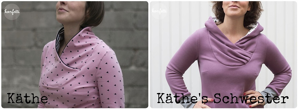 Käthe sweater and Käthe's Schwester hoodie from Konfetti Patterns