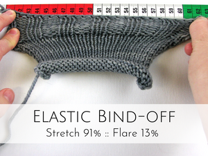 Elastic Bind-off: 91% stretch, 13% flare