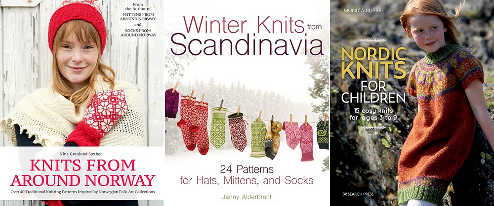 Three book covers featuring Norwegian or Scandinavian colorwork knitting.