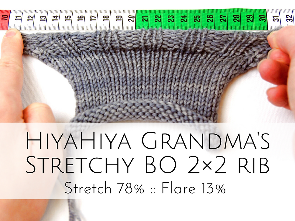 HiyaHiya Grandma's Stretchy Bind-off: 78% stretch, 13% flare