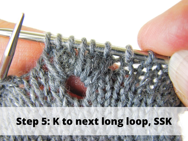 How to Knit Frost Flowers, step 5: K to next long loop, SSK