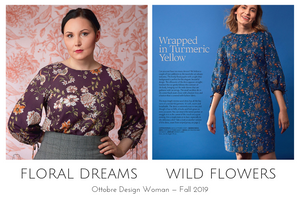 Floral Dreams blouse and Wild Flowers dress from the Ottobre Design Woman Fall 2019 issue