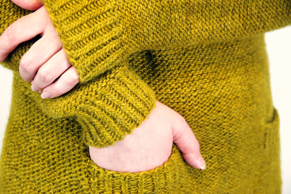 Twisted rib details on the Soothsayer sweater knitting pattern