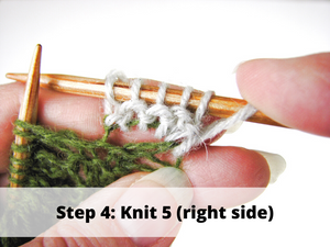 Step 4: Knit 5 (right side)