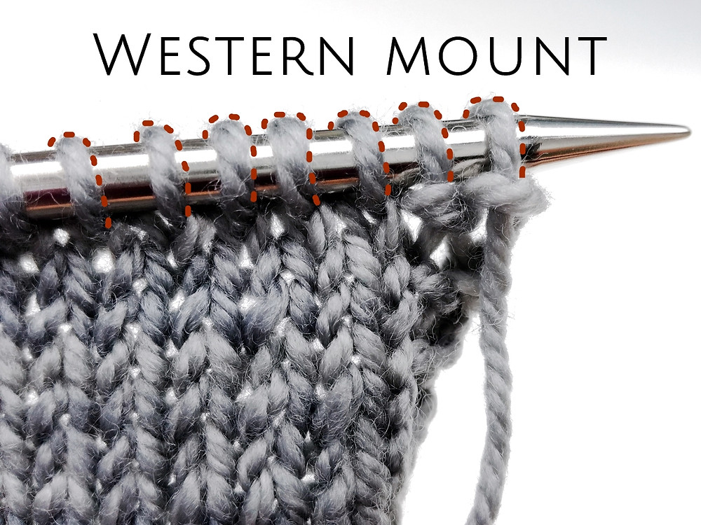 In the Western mount stitches are oriented to the left, with right leg in front of needle and left leg behind.