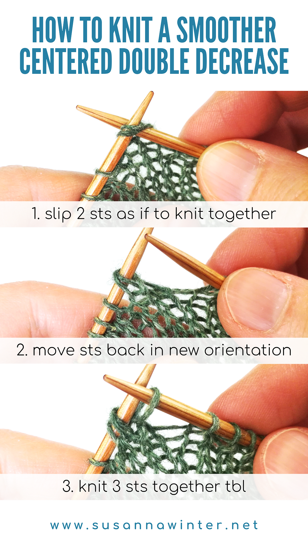 A three-step photo tutorial on how to knit a smoother centered double decrease