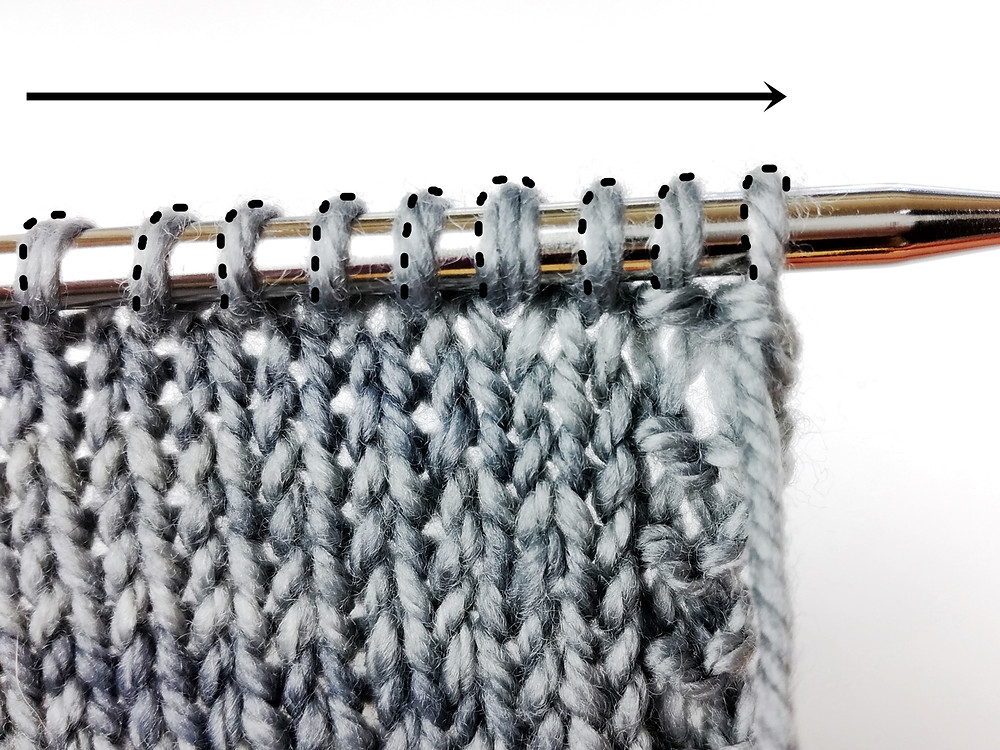 In a reverse mount stitches face to the right. Leading leg is behind the needle, trailing leg in front.