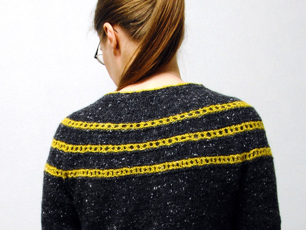 Pontefract uses short rows to raise the back neck