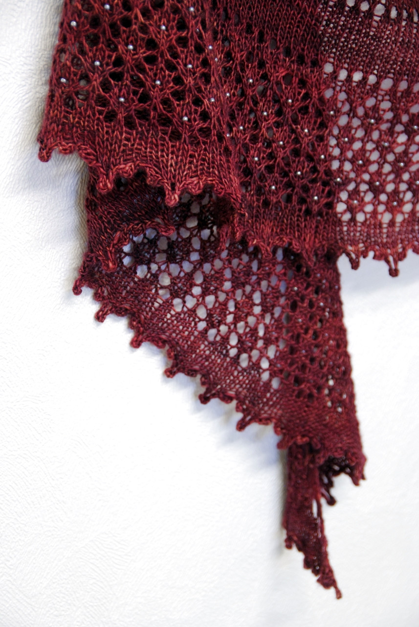 Fenberry Shawl - detail of beaded lace border