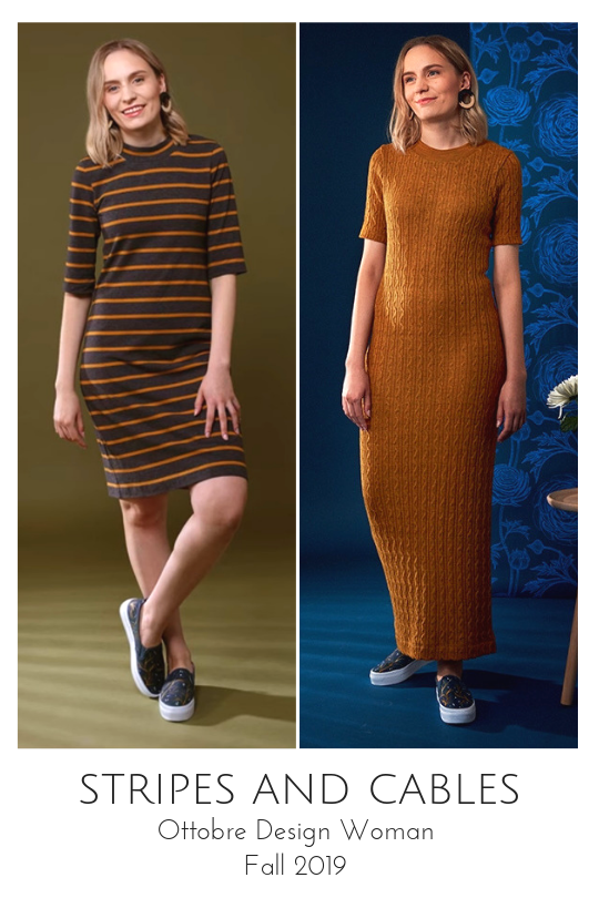 Stripes and Cables jersey dresses from the Ottobre Design Woman Fall 2019 issue