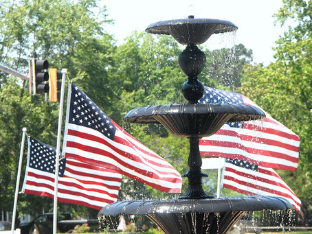 Flags for Heroes all over Easton