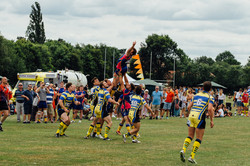 Line out at charity rugby festival