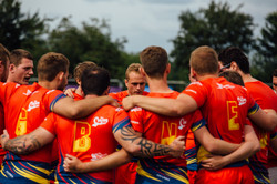 Rugby Team huddle at Robbies Rugby