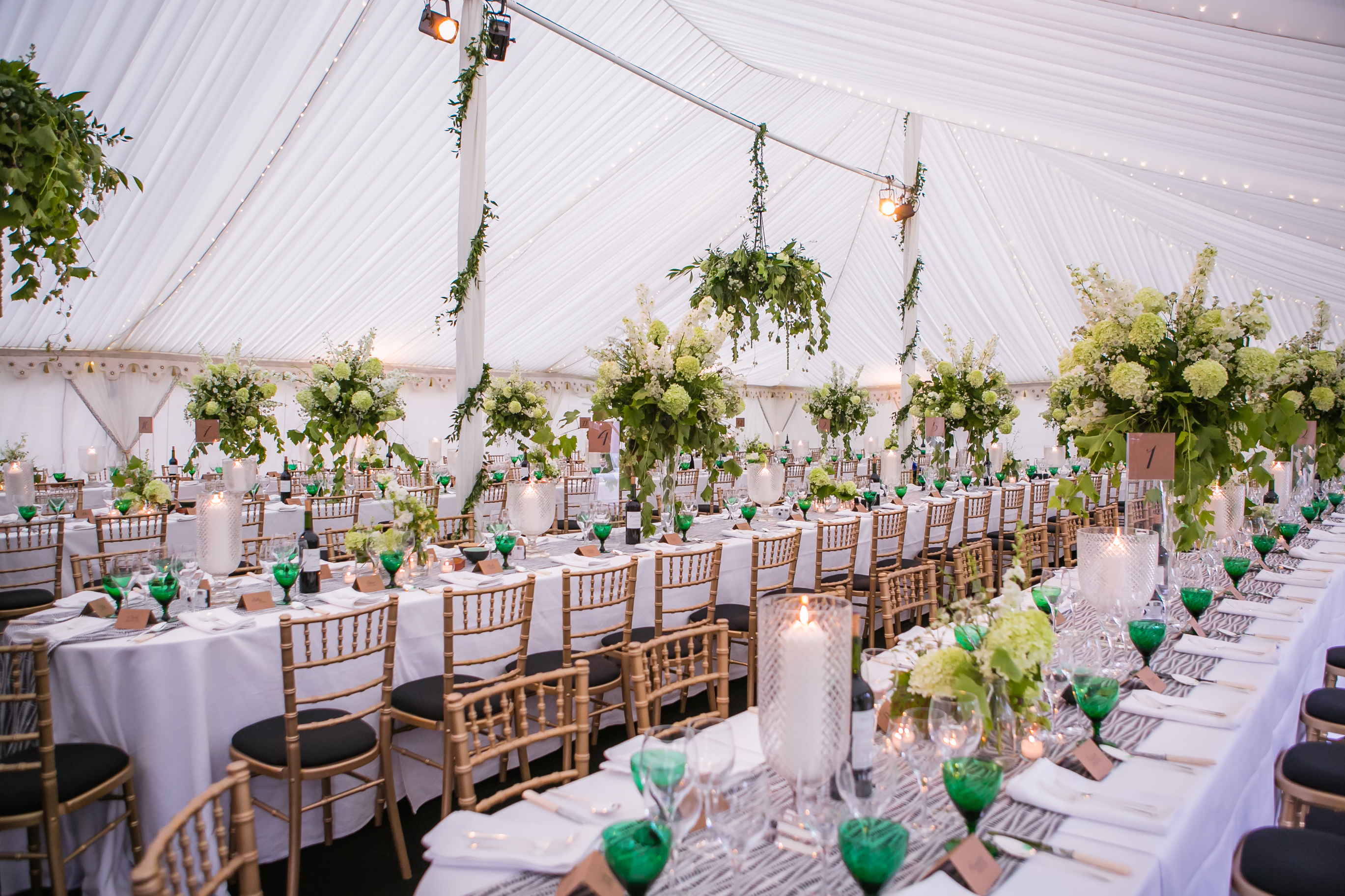 Interiors of a wedding marquee