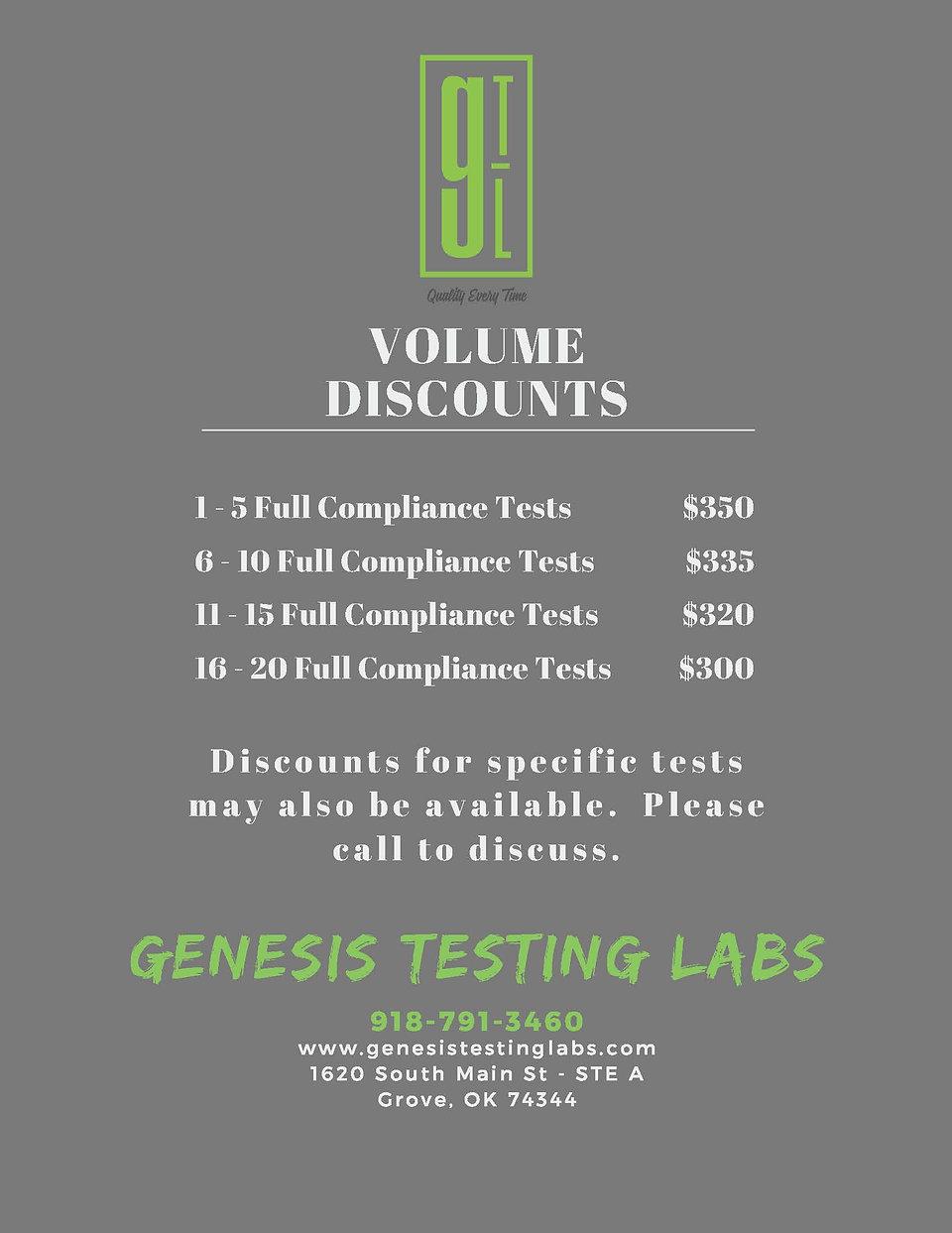 Genesis Testing Labs 2021 Rate Sheet_Par