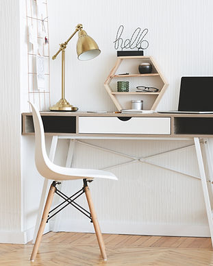 Modern home working place with laptop, s