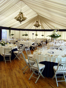 Reception setup in a tent.