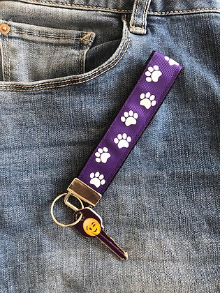 Purple and White Paw Print Key Fob Wristlet