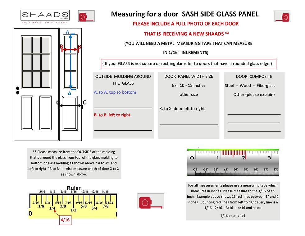 Measuring for a door SASH SIDE GLASS pan