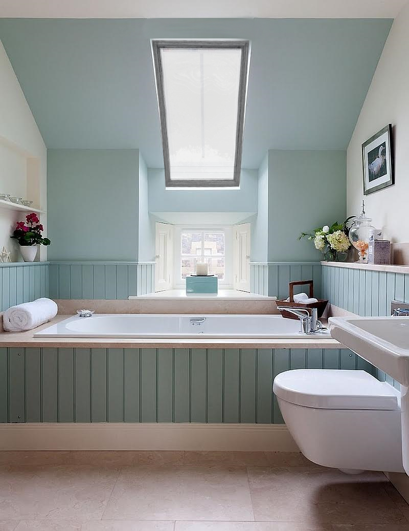 Blue Bathroom Skylight Coverings